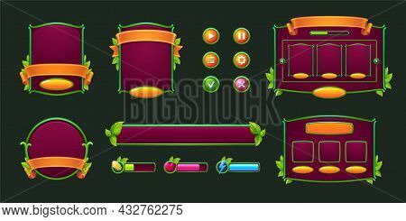 Game Buttons And Frames With Green Borders And Leaves. Design Elements And Assets With Plants For Us