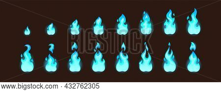 Burning Blue Fire For 2d Animation Or Video Game. Vector Cartoon Animation Sprite Sheet With Sequenc
