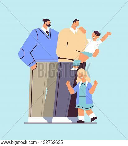 Male Parents Standing With Little Children Gay Family Transgender Love Lgbt Community Concept