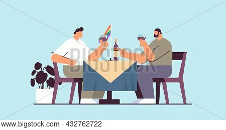 Gays Couple Drinking Wine Two Guys Spending Time Together Transgender Love Lgbt Community Concept