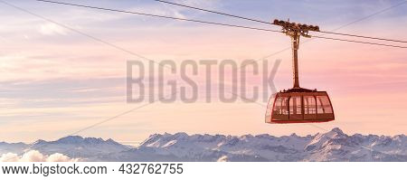 Cable Car Tram And Pink Sunset Snow Mountains Banner Panorama Of French Alps Near Chamonix Mont-blan
