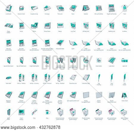 Set Of Vector Printing Icons. Brochure, Business Card, Flyer, Magazine, Postcard, Poster, Banner, Ro