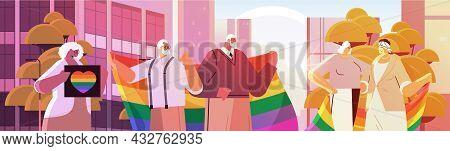 Mix Race Senior People Holding Lgbt Rainbow Flags Gay Lesbian Love Parade Pride Festival Transgender