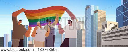 People With Lgbt Rainbow Flag Walking On City Street Gay Lesbian Love Parade Pride Festival Transgen