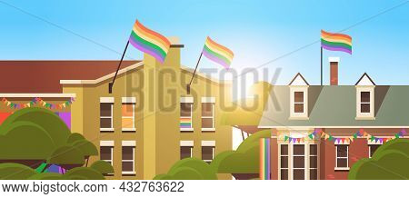 House Facade Decorated With Lgbt Rainbow Flags Lesbian Gay Parade Transgender Love Concept Horizonta