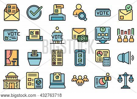 Polling Booth Icons Set Outline Vector. Ballot Box. Choice Election Campaign