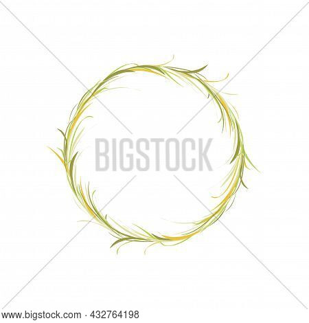 Wreath With Green And Yellow Herbs, Grass And Twigs. Floral Garland Good For Greeting Cards. Autumn
