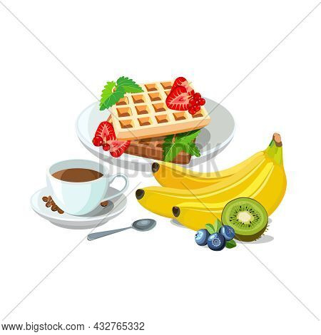 Sample Breakfast Of Belgian Waffles With Berries On Plate, Cup Of Coffee With Spoon And Bright Fruit