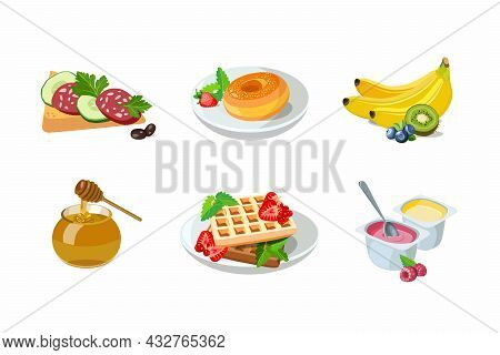 Classic Hotel Breakfast Set With Waffles And Honey, Toast Sandwich With Sausage And Donut. Menu Post