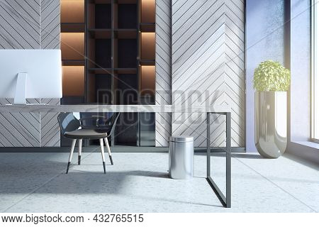 Modern Concrete And Wooden Home Office Interior With Workplace, Bookcase And Daylight. 3d Rendering