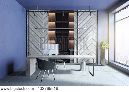 Modern Blue And Concrete Home Office Interior With Workplace, Bookcase, Window With City View And Da