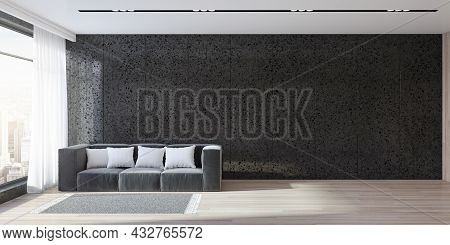 Modern Panoramic Black Living Room Interior With Window And City View, Wooden Flooring, Daylight, Co