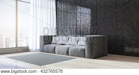 Contemporary Black Living Room Interior With Window And City View, Wooden Flooring, Daylight, Couch
