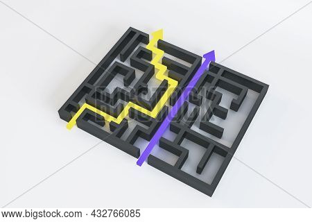 Abstract Maze With Arrows On White Background. Easy Way, Solution And Complication Concept. 3d Rende