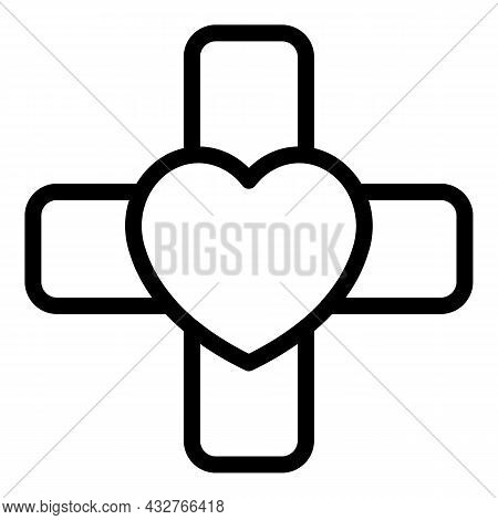 Heart Patch Icon Outline Vector. Broken Heart. Love Wound