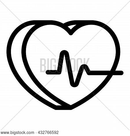 Heart Beat Icon Outline Vector. Palpitating Health. Cardiogram Pulse
