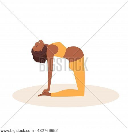 Camel Pose. Pregnant African American Woman Doing Yoga. Woman In Sportswear Doing Floor Exercises On