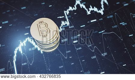 Top View Of Golden Bitcoins Stack On Blue Grid Background With Forex Chart. Finance, Cryptocurrency