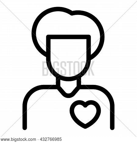 Doctor Heart Care Icon Outline Vector. Health Cure. Cardiac Medical