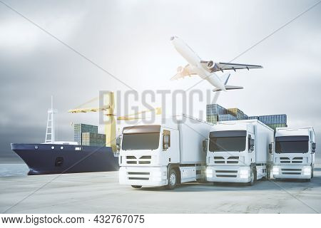 Contemporary Airplane, Ship And Trucks With Cargo In Daylight. Delivery, Storage And Logistics Conce