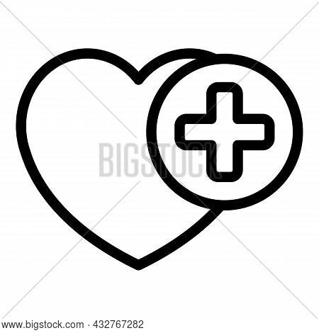 Medical Heart Care Icon Outline Vector. Love Heart. Heal Medical
