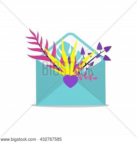 Envelope With Decorative Flowers. Vector Illustration. 14  February.