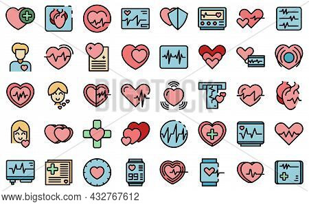 Palpitating Icons Set Outline Vector. Aid Abdomen Attack. Breath Disorder
