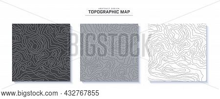 Set Of Topographic Maps Abstract Backgrounds. Outline Cartography Landscape. Collection Of Topograph
