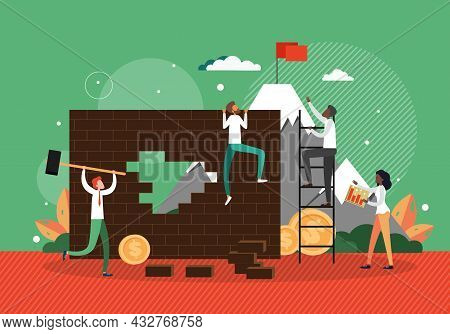 Purposeful Business People Climbing Wall, Ladder To Reach Flag On Mountain Top, Flat Vector Illustra