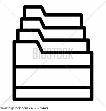 Folder Stack Icon Outline Vector. File Document. Document Portfolio