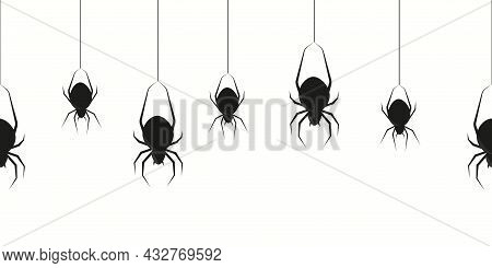 Hanging Black Spiders. Halloween Spidering Transparence Creepy Border With Silhouette Of Scary Swing