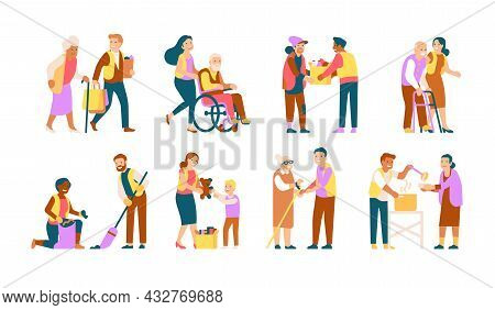 Volunteer People. Helping Old People, Disabled, Disadvantaged, Caring Characters, Kids Charity, Garb