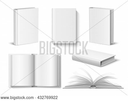 Realistic Books Mockup. White Blank Opened And Closed Book With Hardcover, Different Angles, Top And