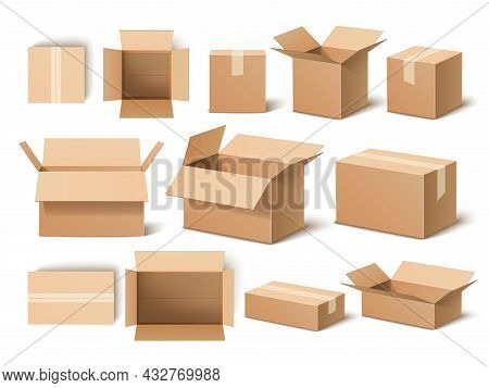 Realistic Boxes. 3d Cardboard Opened And Closed Packaging Template, Shipping Containers, Post Delive