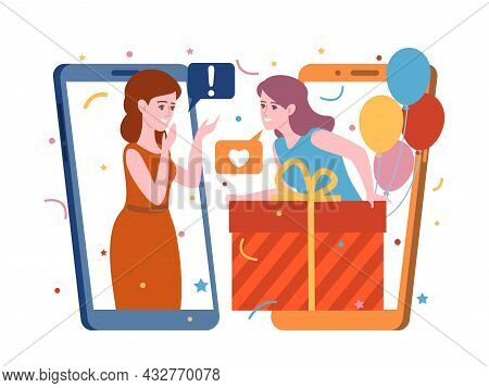 People Gifts Online. Woman Gives Present And Communicate Through Phone Screens App, Holiday Chat Wit