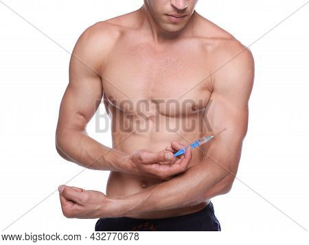 Athletic Man Injecting Himself On White Background, Closeup. Doping Concept