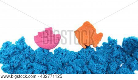 Ship, Fish And Sea Made Of Kinetic Sand On White Background, Top View