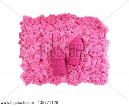 Castles Made Of Kinetic Sand On White Background, Top View