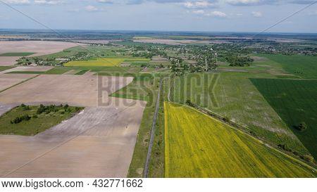 Scenic Farm Fields Under Blue Skies. Rape Crops. Country Road Among The Fields.