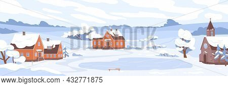 Winter Village Landscape With Houses And Trees Covered With Snow. Panorama Of Rural Nature With Buil