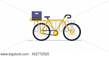 A Bicycle For An Online Delivery Service For Parcels And Food To Your Home. Yellow Bike Postman Side