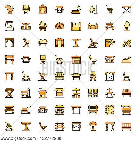 Outdoor Furniture Icons Set Outline Vector. Garden Deck. Patio Table And Bench