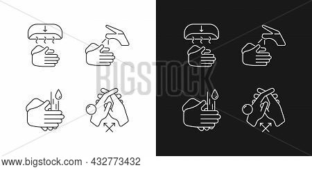 Proper Handwashing Linear Icons Set For Dark And Light Mode. Hand-drying Method. Wetting Hands With