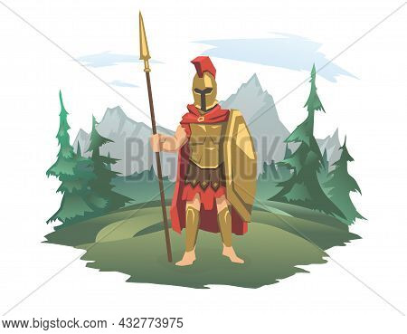 An Antique Warrior With A Shield And A Spear On The Background Of A Mountain Landscape. God Of War,