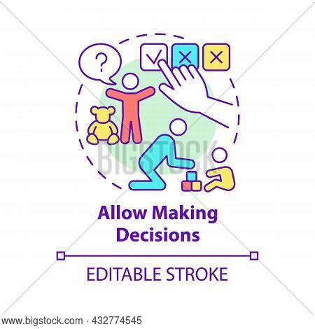 Allow Making Decisions Concept Icon. Kid Making Choice Abstract Idea Thin Line Illustration. Family
