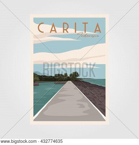 Carita Beach Travel Vintage Poster Vector Illustration Design, View At Bintang Laut Resort Carita In