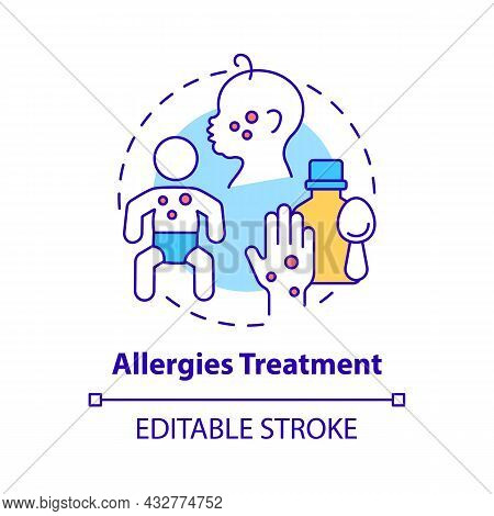 Allergies Treatment Concept Icon. Allergy Reaction Relief Abstract Idea Thin Line Illustration. Take
