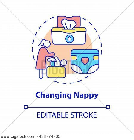 Changing Nappy Concept Icon. Child Nursing Abstract Idea Thin Line Illustration. Baby Hygiene. Remov