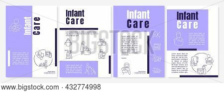 Infant Care Purple Brochure Template. Baby Health Care. Flyer, Booklet, Leaflet Print, Cover Design