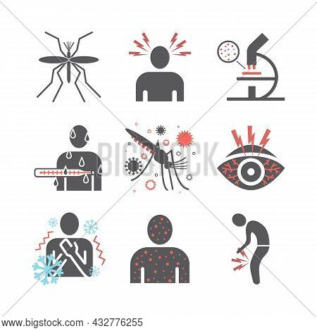 Malaria Icon. Infographics. Symptoms, Vector Signs For Web Graphics.